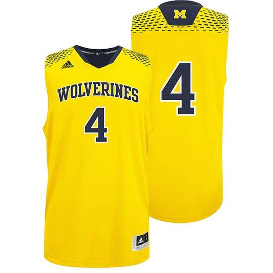 Adidas University Of Michigan Basketball Yellow 4 Madeinmarch Jersey Michigan Athletics University Of Michigan Basketball Basketball Uniforms