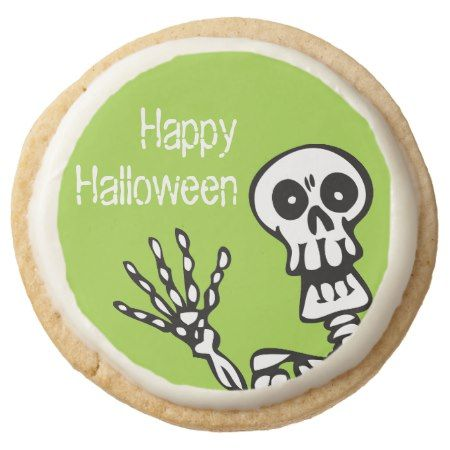 Happy Halloween Green Skeleton Party Round Shortbread Cookie    Happy Green Party Round Shortbread - tap, personalize, buy right now!