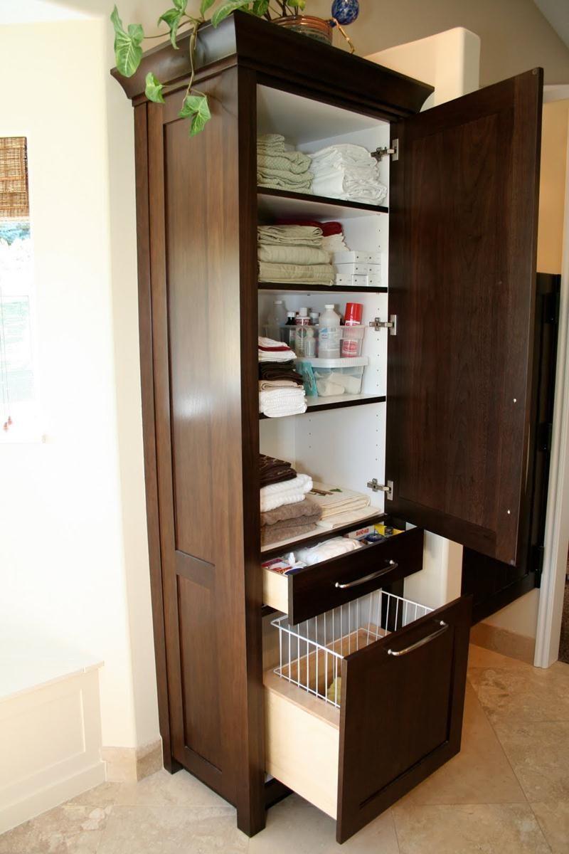 Bathroom Storage Ideas Diy Check Out, Tall Bathroom Linen Cabinet With Hamper