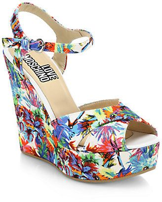 9e74f5ab2 Love Moschino Jungle Printed Canvas Wedge Sandals on shopstyle.com Jungle  Print, Wedge Shoes