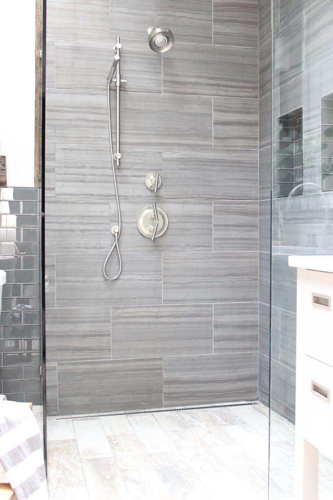 design indulgence: BEFORE AND AFTER - shower tile here: www.flooranddecor... floor tile here: www.flooranddecor...