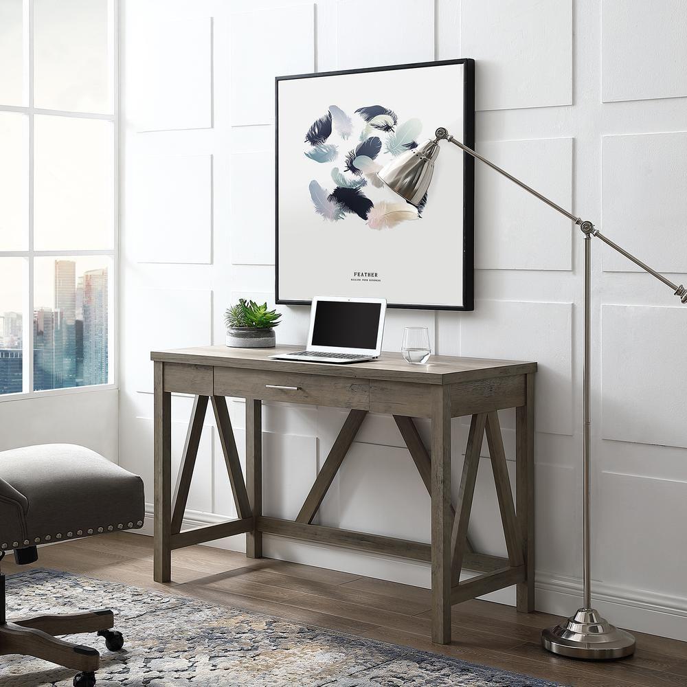 46 rustic farmhouse wood computer desk in grey wash