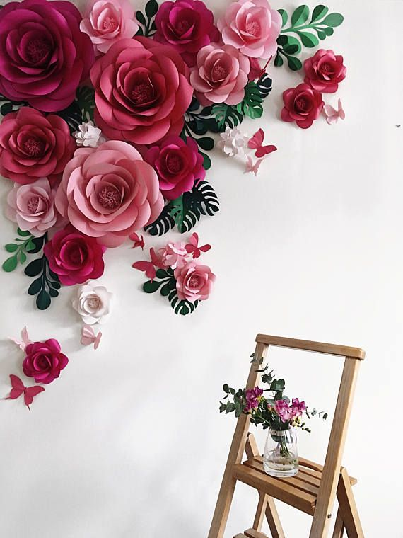 Paper Flower Backdrop - Paper Flower Arch - Paper Floral Arramgement - Paper Leaves Backdrop - Paper Butterflies