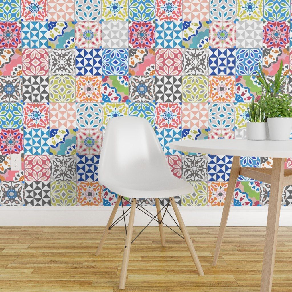 Floral Tiles Wallpaper Eclectic Tile By Elephantandrose Etsy Eclectic Tile Floral Tiles Tile Wallpaper