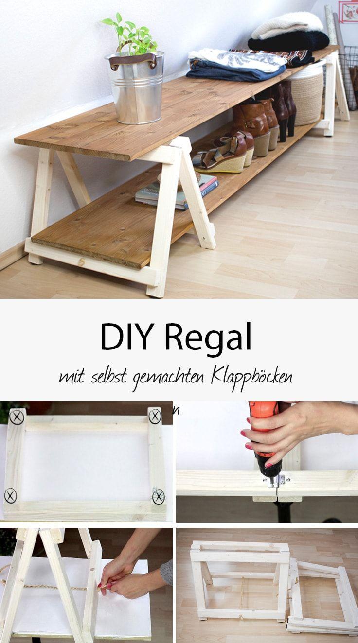 diy regal: regal bauen mit mini klappböcken   pinterest