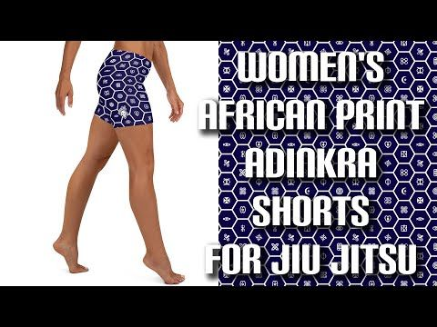Adinkra Patterned Yoga Shorts! Our Soldier Complex Women's African Print Adinkra Yoga Shorts, Jiu Jitsu Leggings are designed for you