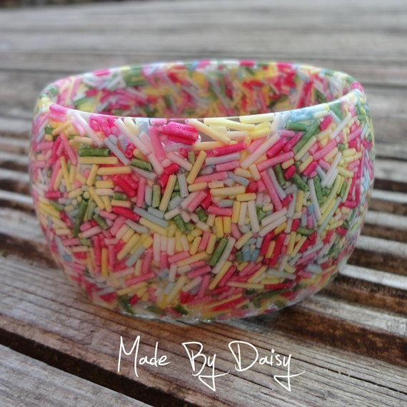 HOW CUTE IS THIS!!!!! Love it!!!! Pastel Wide Candy Bangle Cake Sprinkles Resin by madebydaisy, £25.00