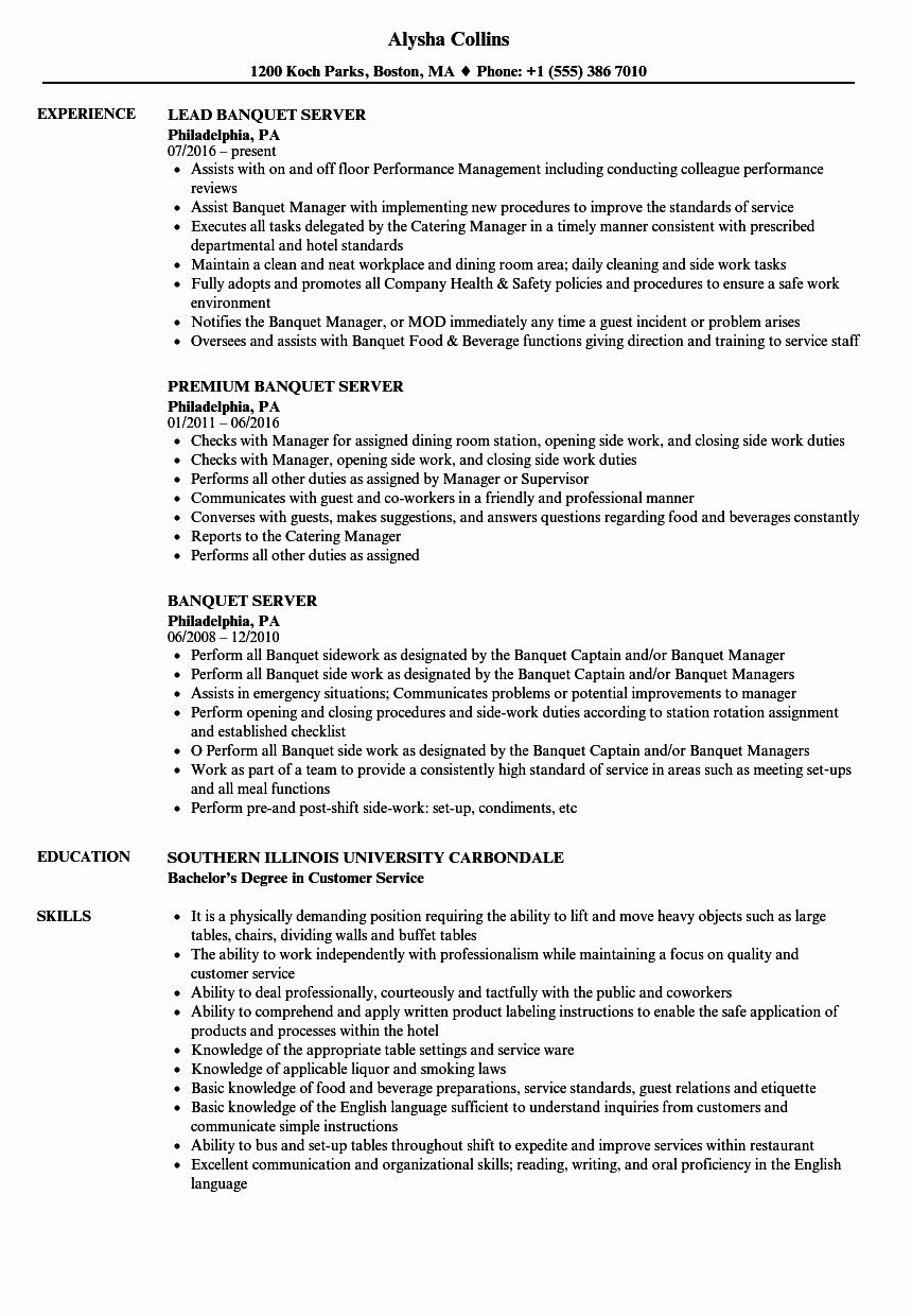 Resume Example for Server Unique Banquet Server Resume
