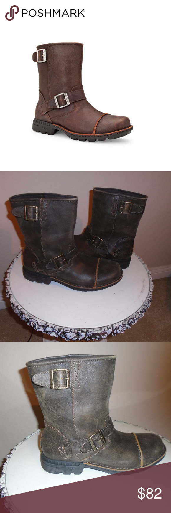 4c84a8fd37c UGG ROCKVILLE II MOTORCYCLE BOOTS ~ 10 ~WATERPROOF Size 10 Brown ...