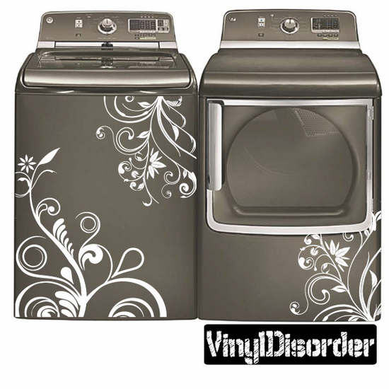 Floral Washing Machine Decal Home Decorating Laundry