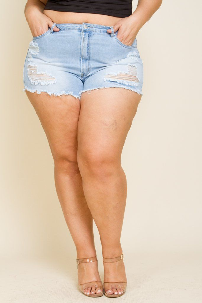 a1805efd642 Plus Size Mini Denim Shorts