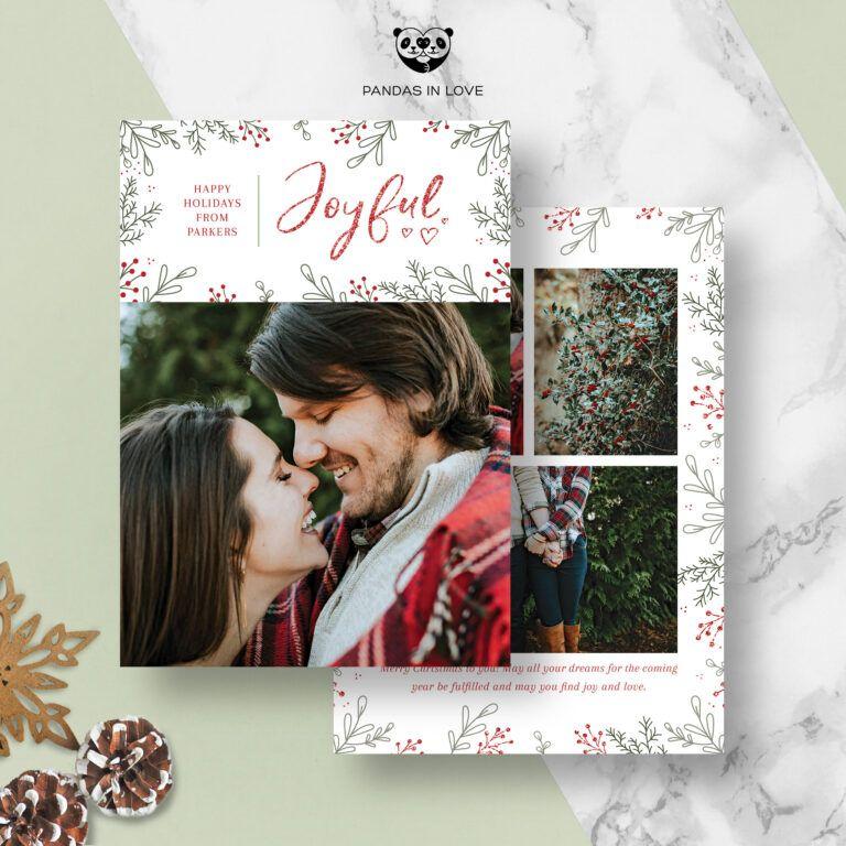 Digital Greeting Card With Photo Christmas Card Template For Etsy Christmas Photo Card Template Photoshop Christmas Card Template Holiday Card Template