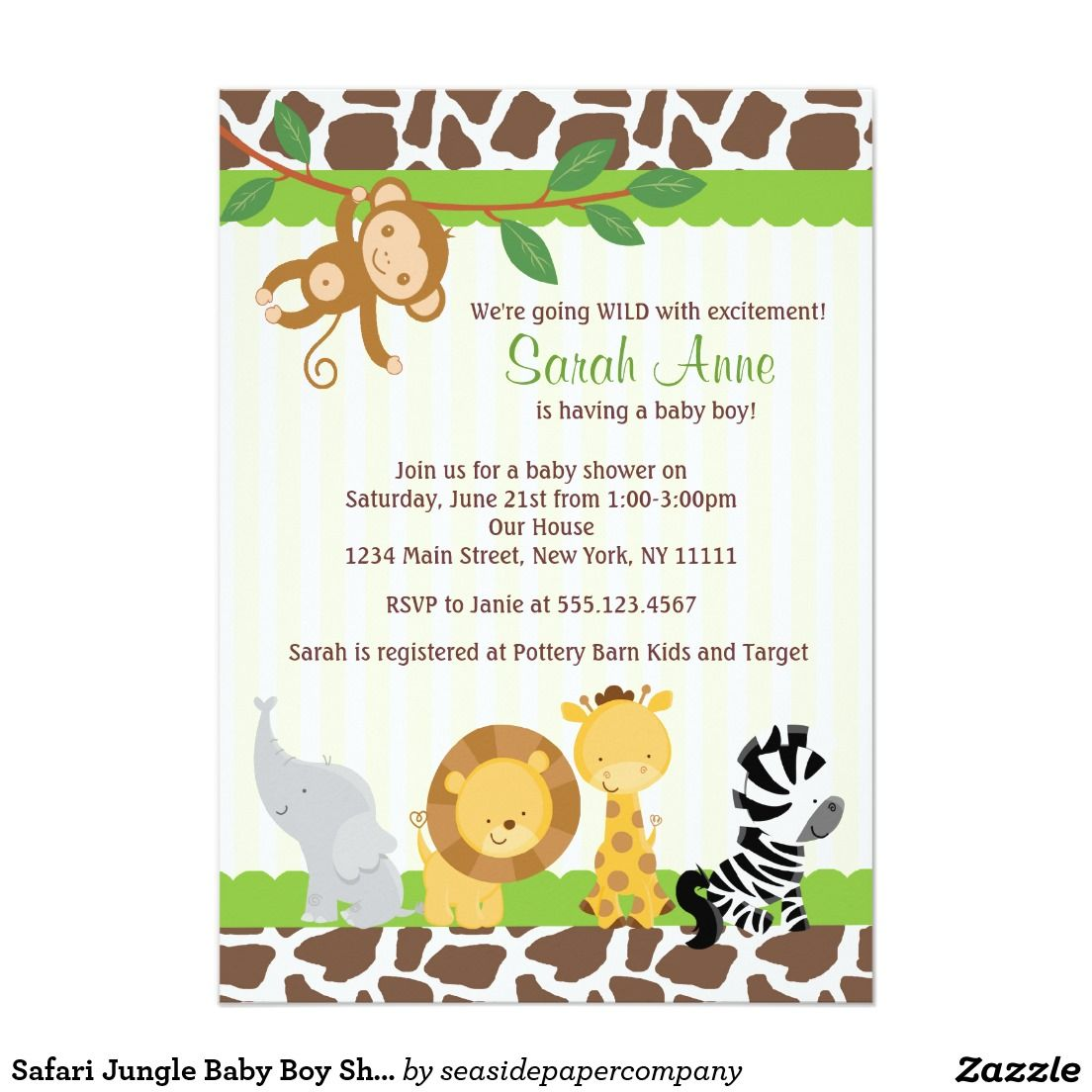 Safari Jungle Baby Boy 5x7 Shower Invitations. Artwork designed by ...
