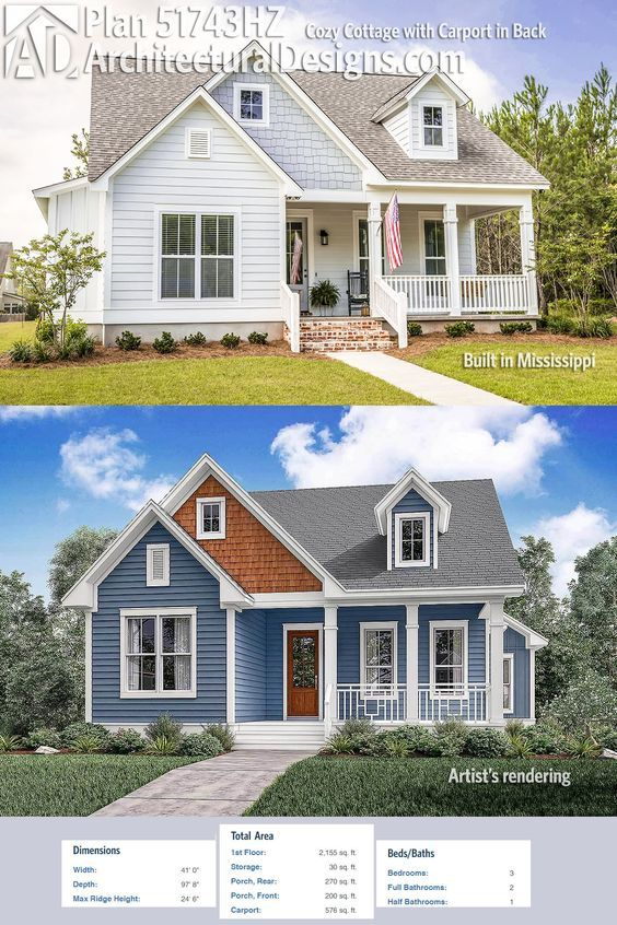 Plan 51743hz Cozy Cottage With Carport In Back Cottage House Plans House Styles Cottage Homes