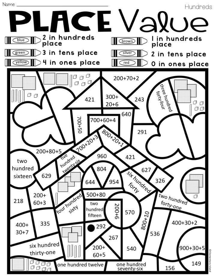 place value color by code differentiated island math first grade place value activities 2nd. Black Bedroom Furniture Sets. Home Design Ideas