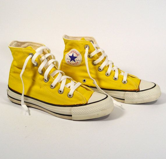 b0284dede837 1980s CONVERSE Chuck Taylor All-Star Lemon Yellow High-Top Cotton Canvas  Sneakers - Size 3.5 Boys or 5.5 Womens
