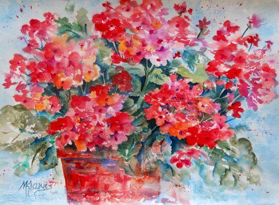 Red Geranium Watercolor by Colorado Artist Martha Kisling