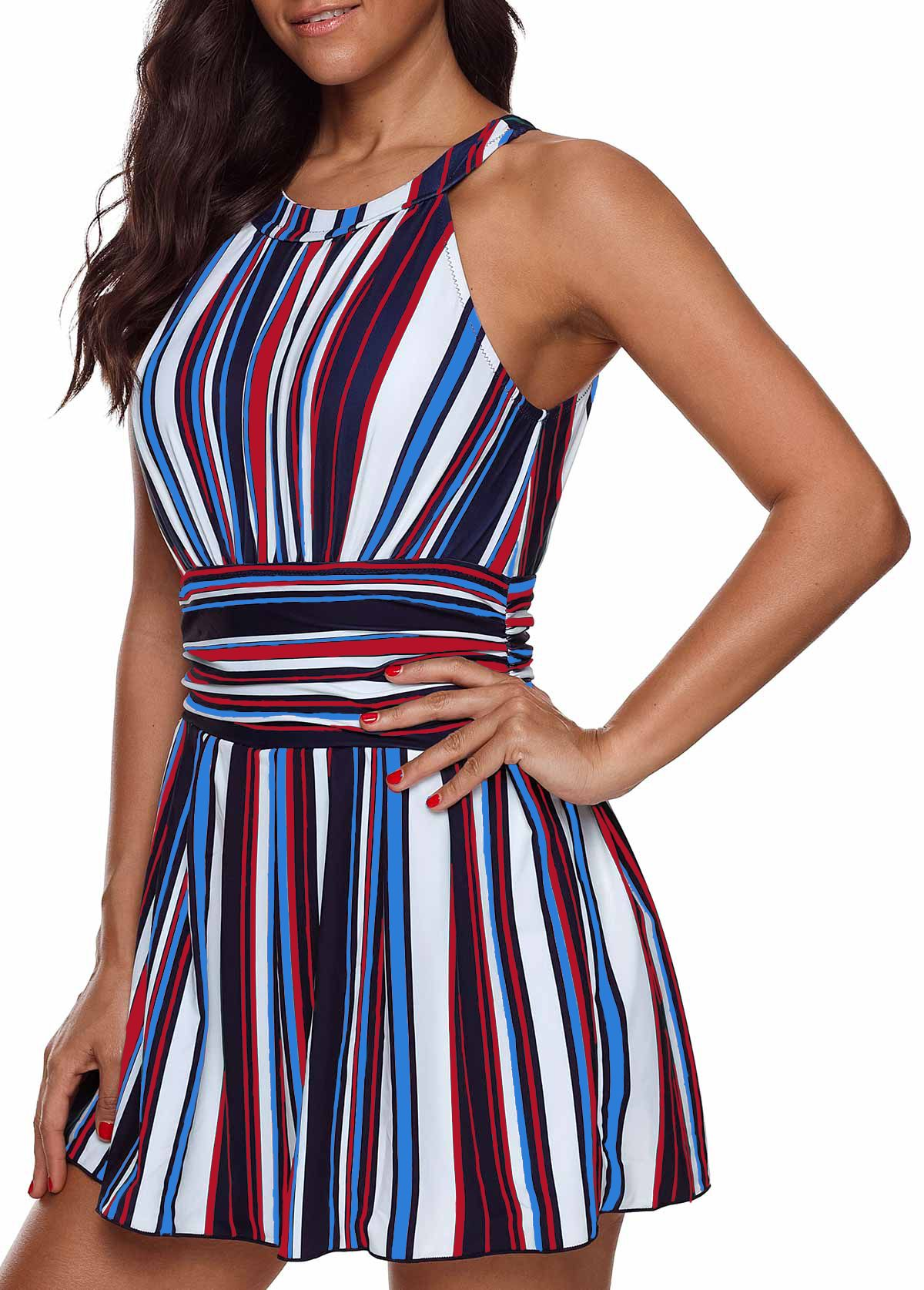 e772893b24903 ... One Piece Swimsuits, Swim Cover Ups. Cutout Back Padded Multicolor  Striped Swimdress and Shorts