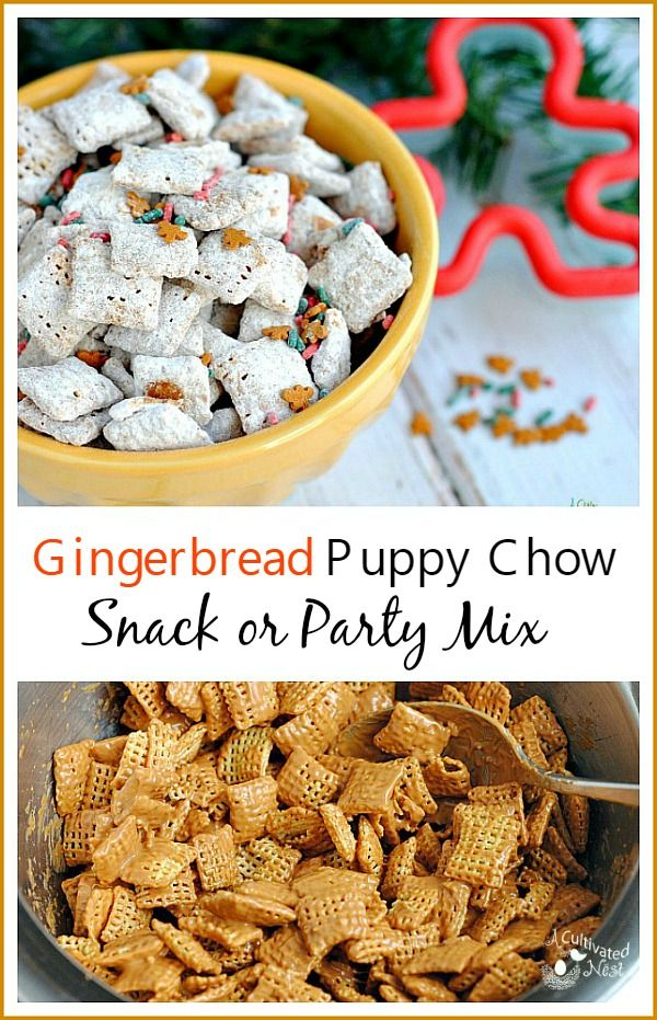 Gingerbread Puppy Chow Muddy Buddies Recipe Snacks Christmas Sweets Recipes Puppy Chow Snack Mix Recipe