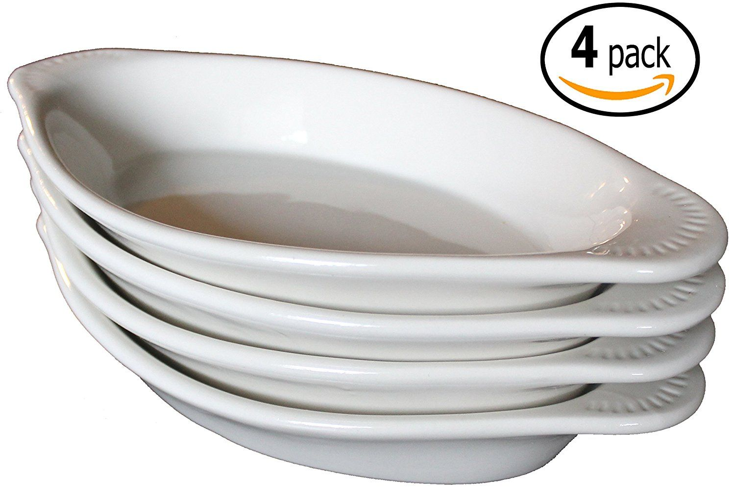 Cac Ceramic Oval Rarebit Au Gratin Baking Dish With Pan Scraper Set Of 4 Bone White 15 Ounce Insider S Special Review T Baked Dishes Au Gratin Baking