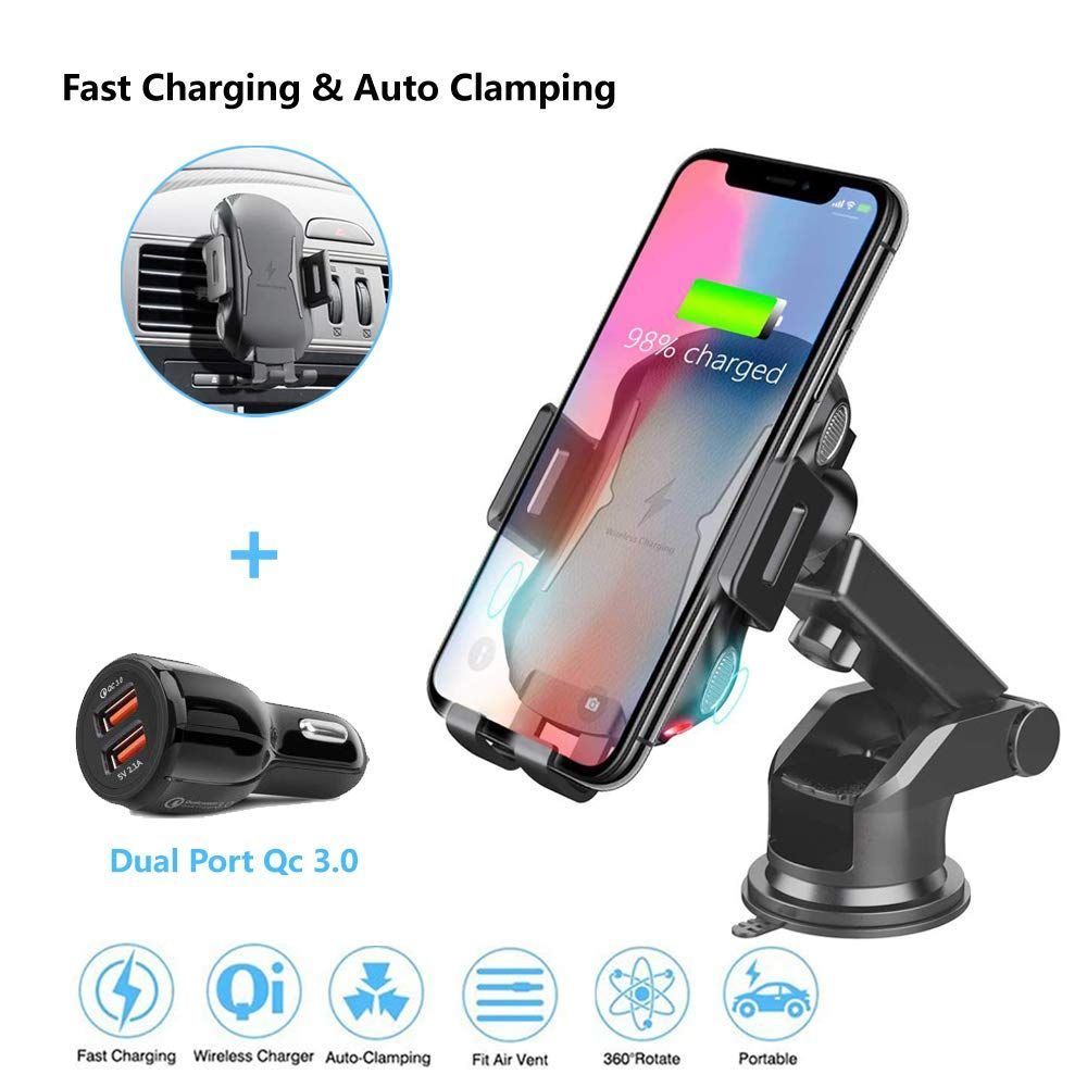 Lavo-Tech Qi Wireless Charger Air Vent Phone Holder for iPhone X,iPhone Xs//iPhone Xs Max//Samsung Galaxy S9 //S8//Note 9//Note 8 and Other Qi Enabled Devices Wireless Car Charger Mount Fast Charging