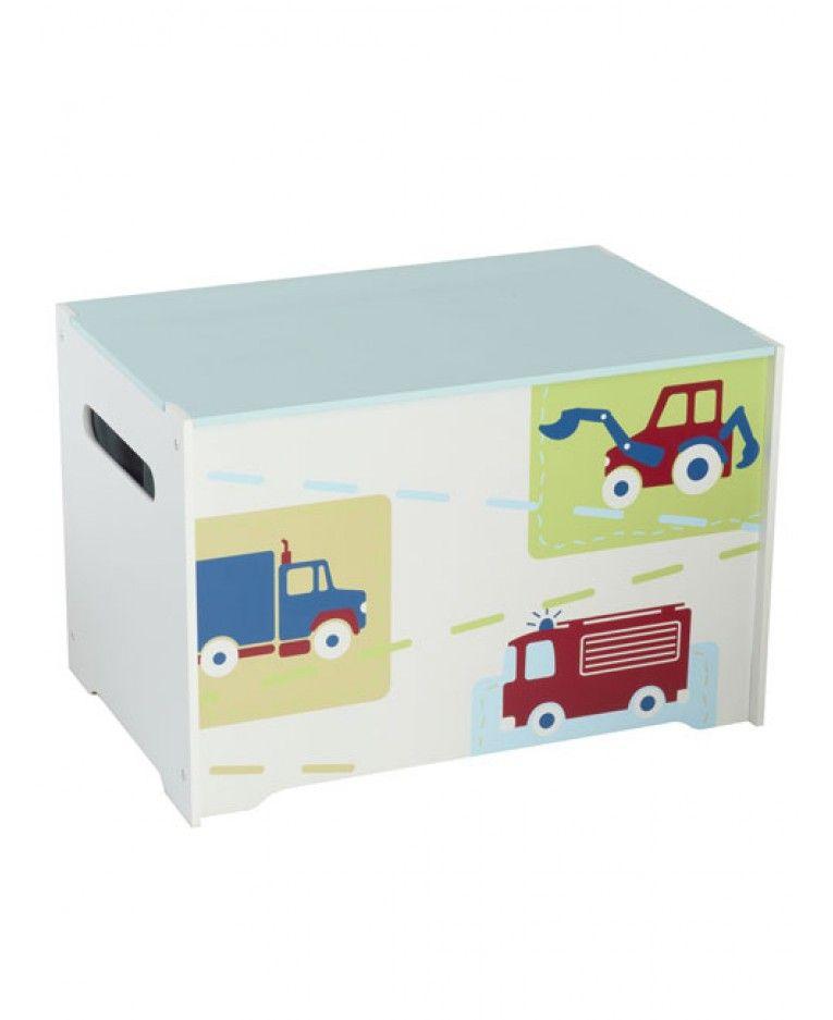 Kids Storage Bench Furniture Toy Box Bedroom Playroom: Boys Vehicles Toy Box