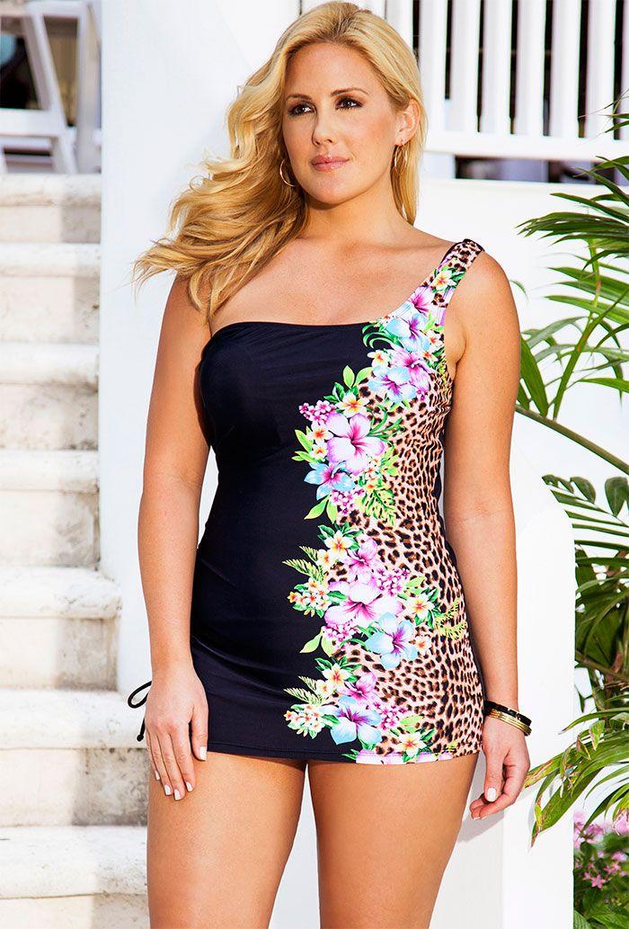 Swim Sexy Leopard Tropical One Shoulder Swimdress. Swim Sexy Leopard  Tropical One Shoulder Swimdress Women s Plus Size Swimwear 9e9c07df03
