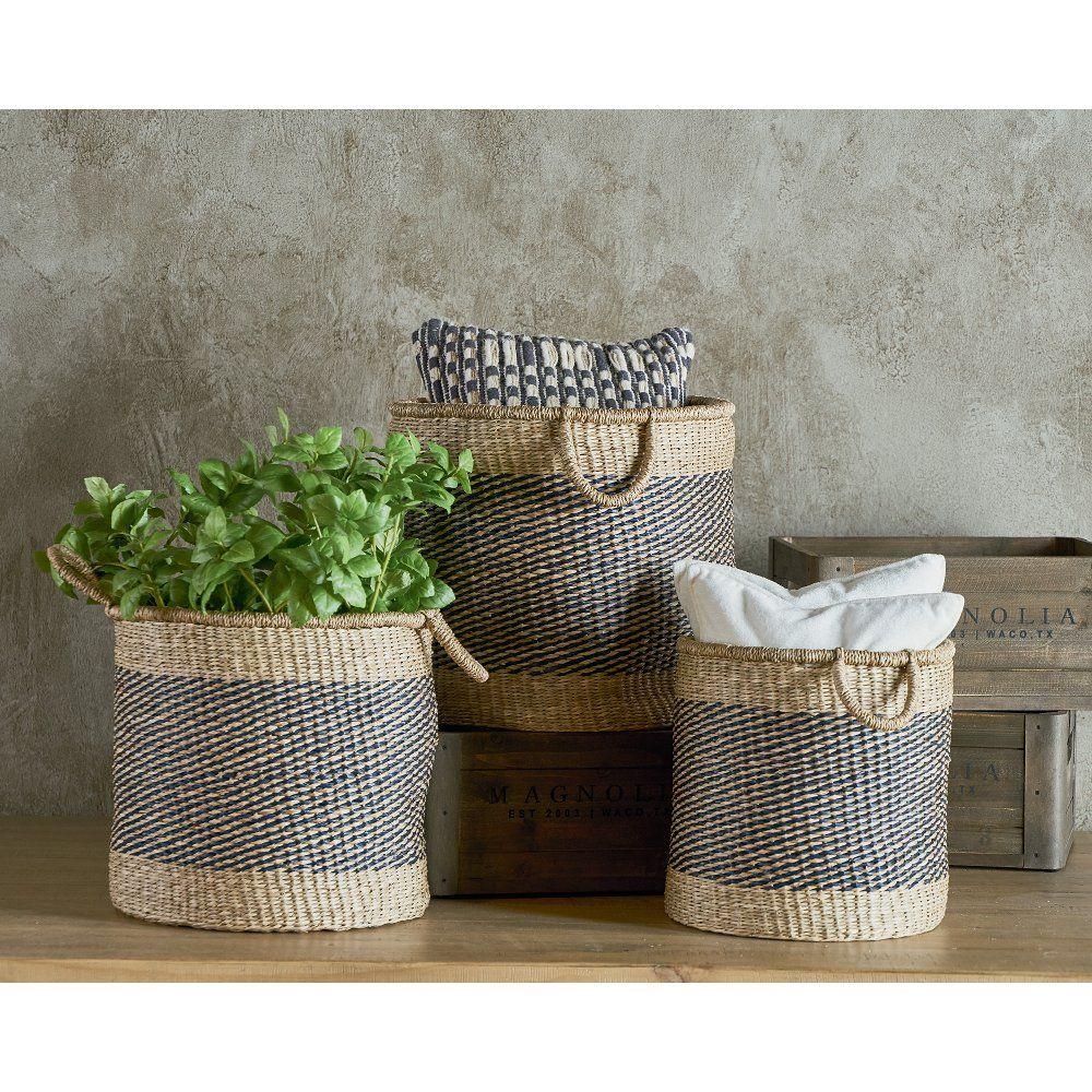 Magnolia Home Furniture 13 Inch Two Tone Sea Grass Basket Home