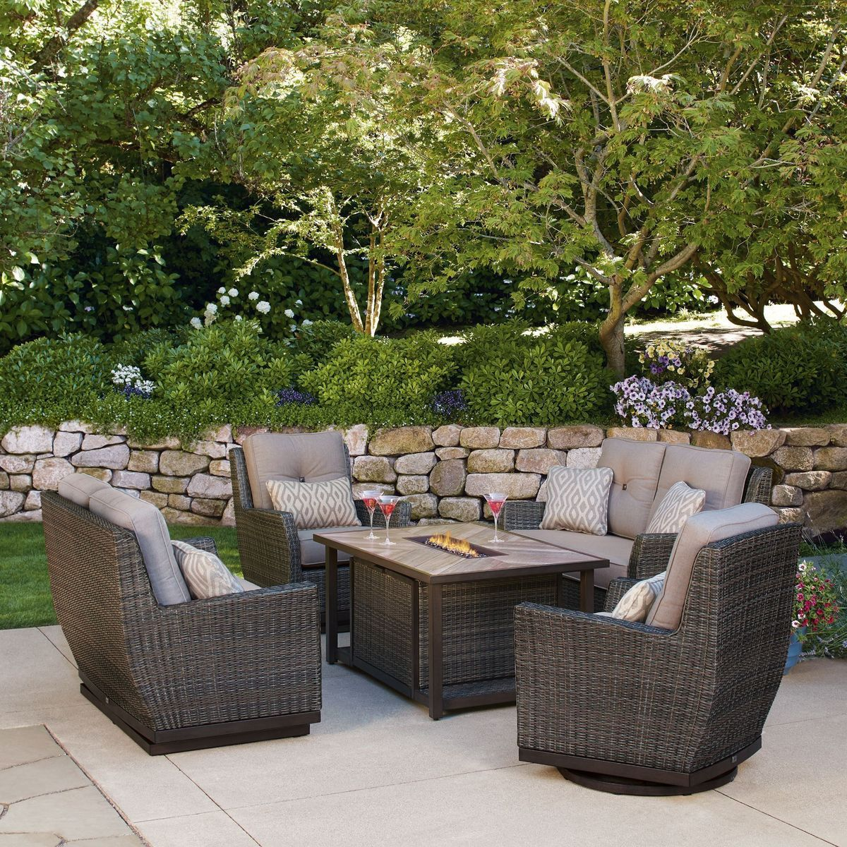 5 Piece Fire Chat Set In 2020 Patio Outdoor Furniture Outdoor