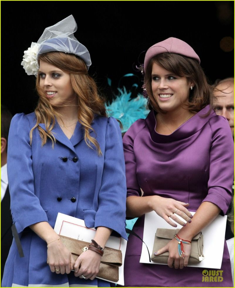 Princesses Beatrice and Eugenie of York at the service of
