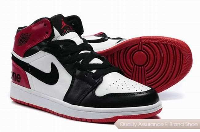 Discount Air Jordan 1 Men Black/White/Red Shoes 2776