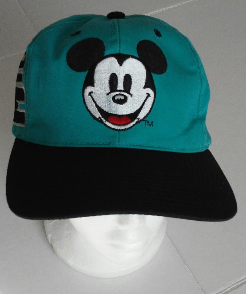 DISNEY MICKEY MOUSE 90 s SNAPBACK TRUCKERS HAT Ball Cap Vtg Teal Black  2ae9bbe86e21