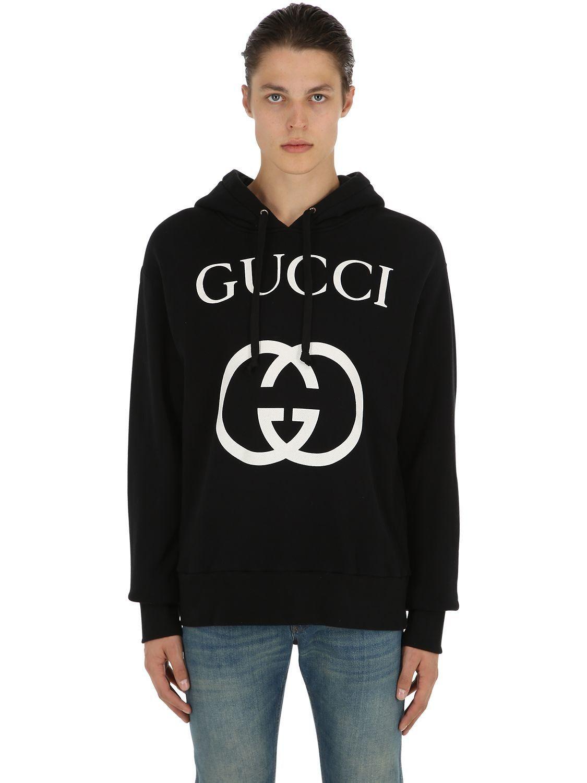 d86d3b0f73c9 GUCCI LOGO PRINT COTTON SWEATSHIRT HOODIE.  gucci  cloth   Gucci ...