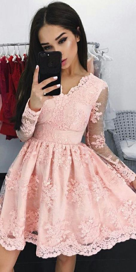 Lace Long Sleeves Pink Tulle Graduation Party Dress, OP168 2