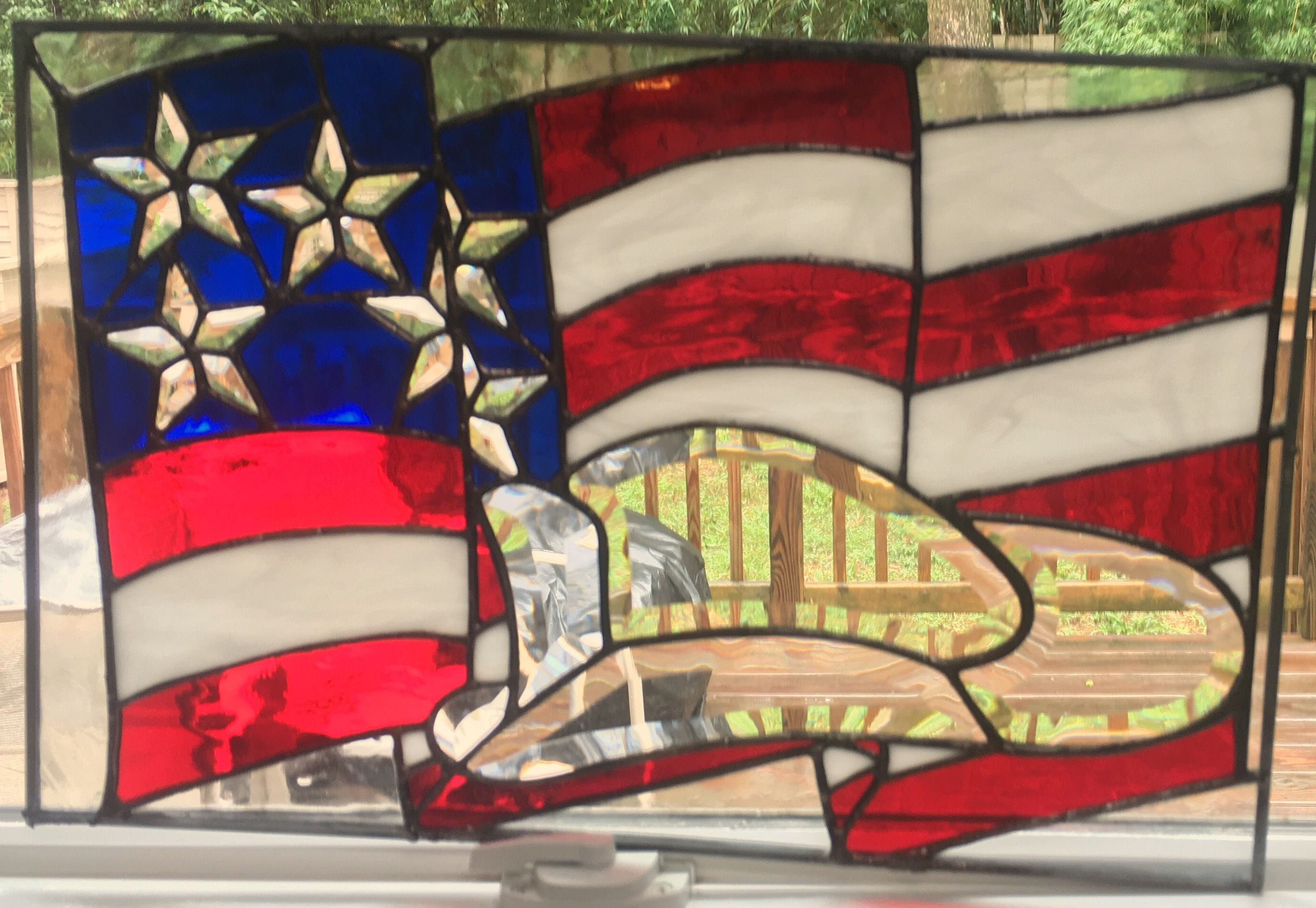 Firefighter American flag stained glass | Stained Glass | Pinterest ...