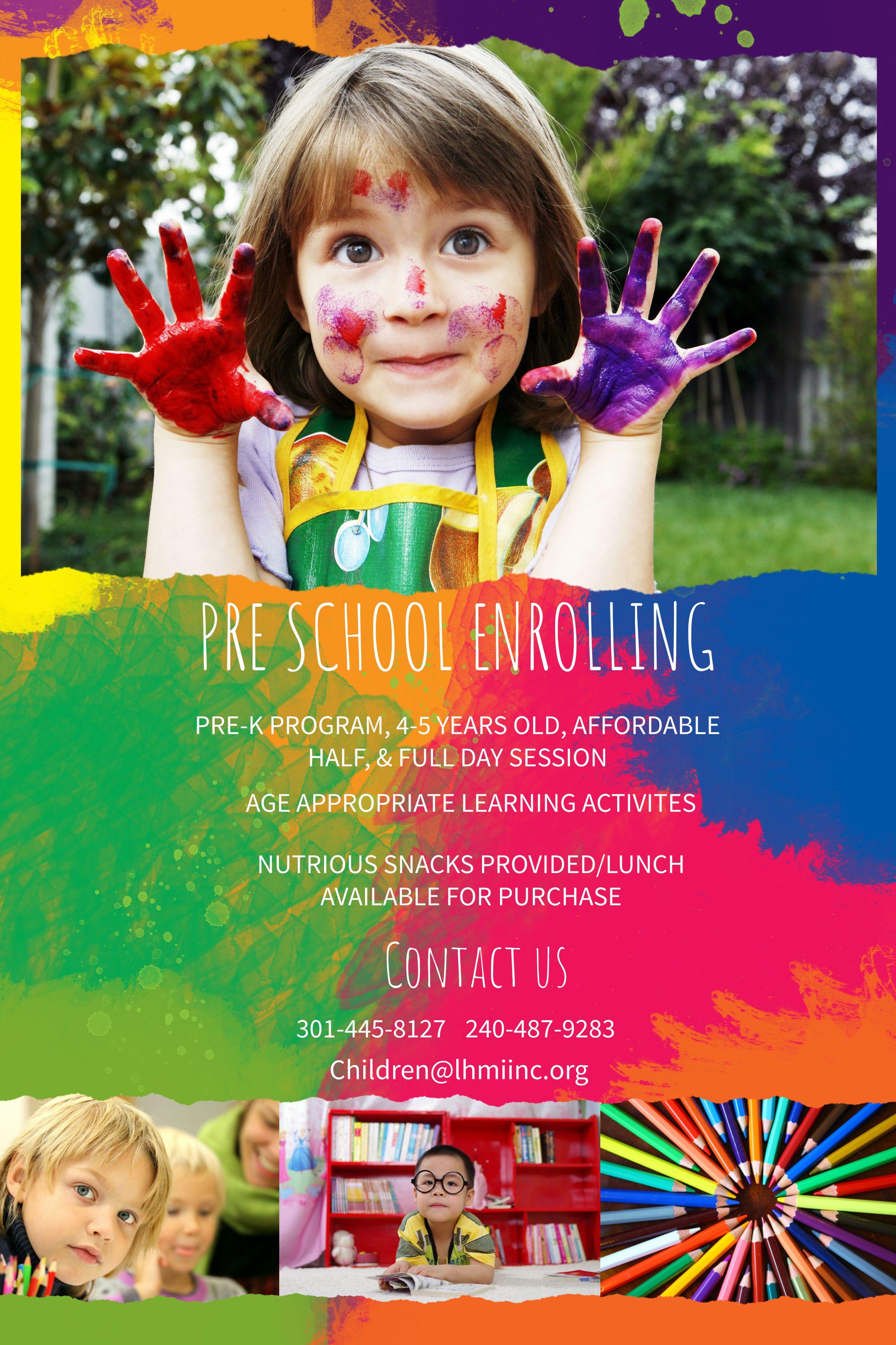 Preschool Enrollment Colorful Poster Flyer Template Preschool