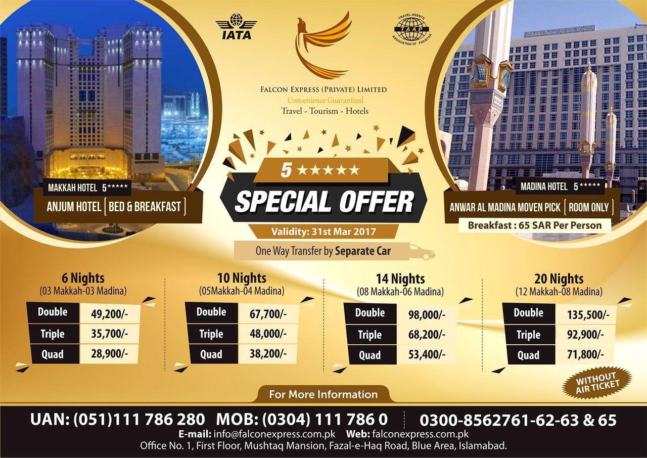 Falcon express travel and tour company announcing special