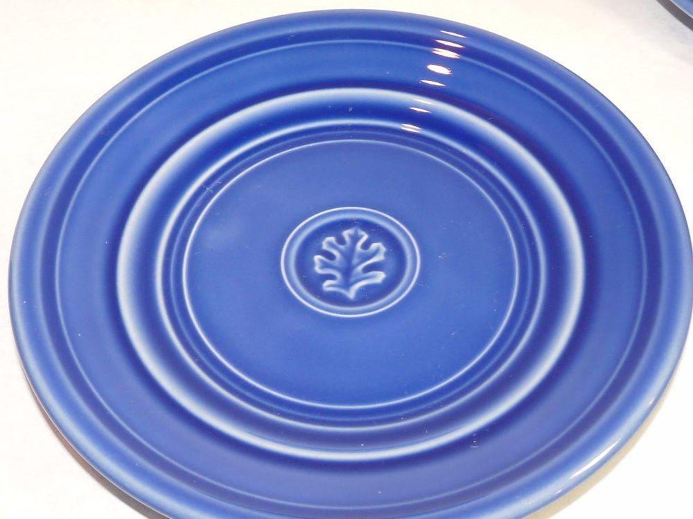 Set 6 Hand Painted DANSK Craftmark Salad Plates Denim Blue Oak Leaf Portugal #Dansk & Set 6 DANSK Craftmark Salad Plates Denim Blue Oak Leaf Portugal ...