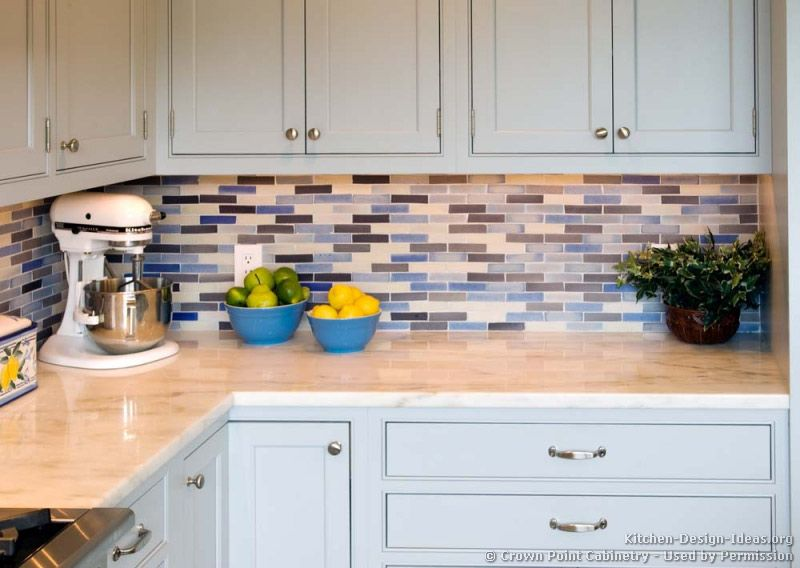 Transitional Kitchen Design With Pale Blue Shaker Style Cabinets Your Home  Improvements Refference Glass Subway Tile Backsplash