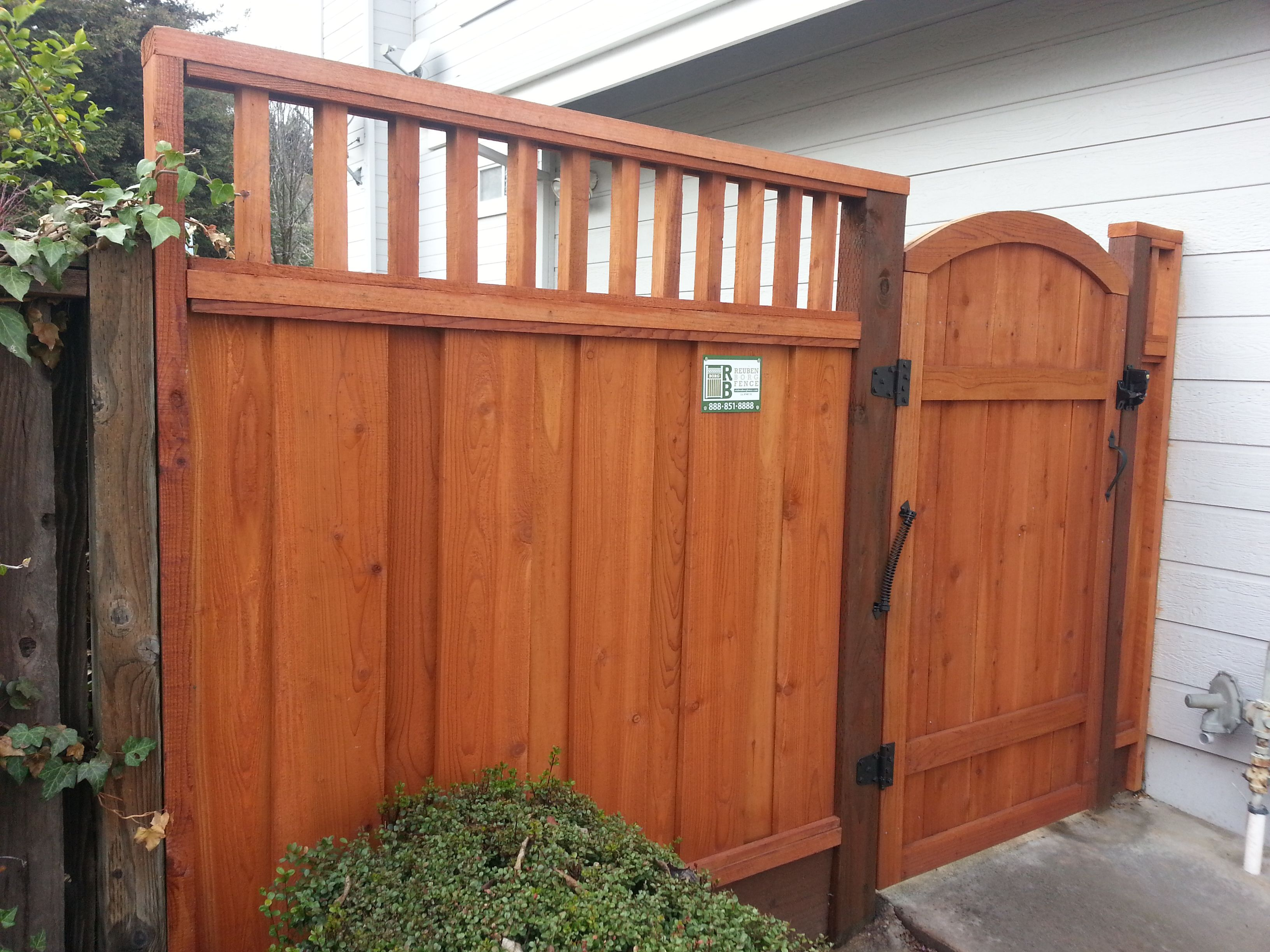 Board on Board Fence With Piano Key Lattice Custom Arched Gate
