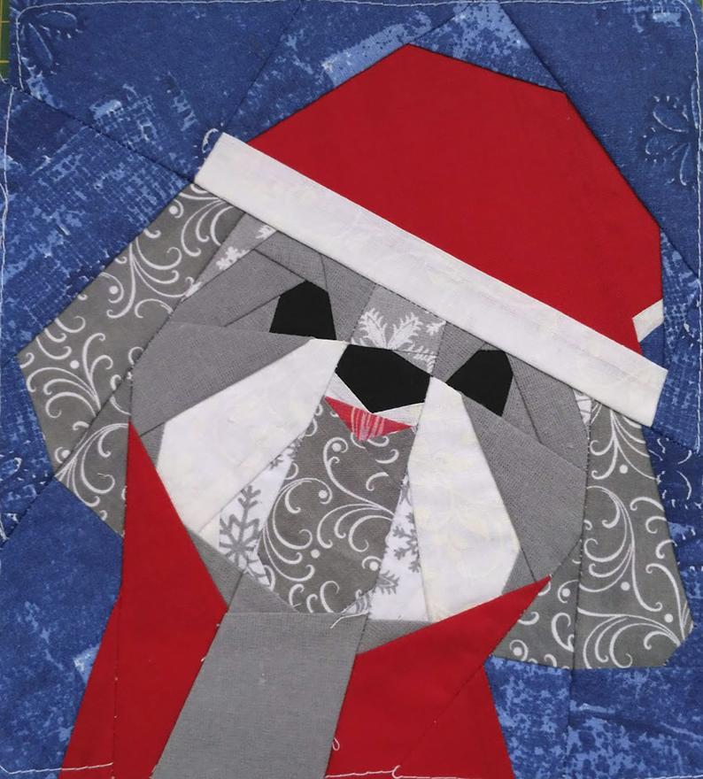 Shih Tzu Christmas quilt block pattern | Etsy in 2020 ...