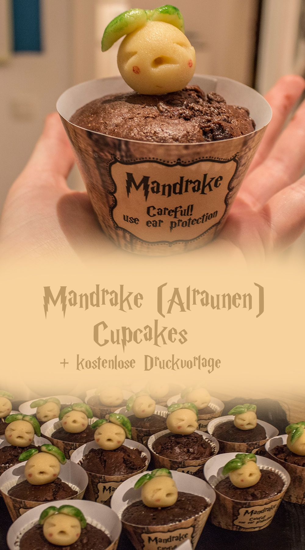 Mandrake (Alraunen) Cupcakes Rezept!! Perfekt für jede Harry Potter Party! Lecker, einfach und super cute! #cupcakesrezepte