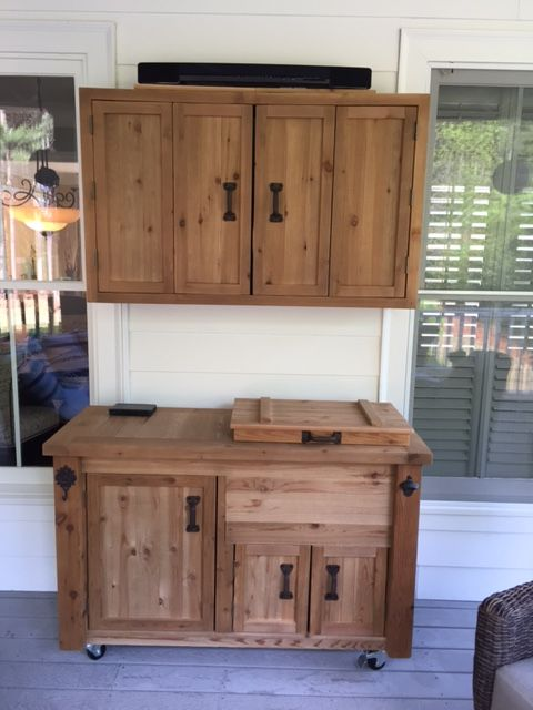 Outdoor Tv Media Wall Cabinet And Rustic Wooden Cooler Cabinet