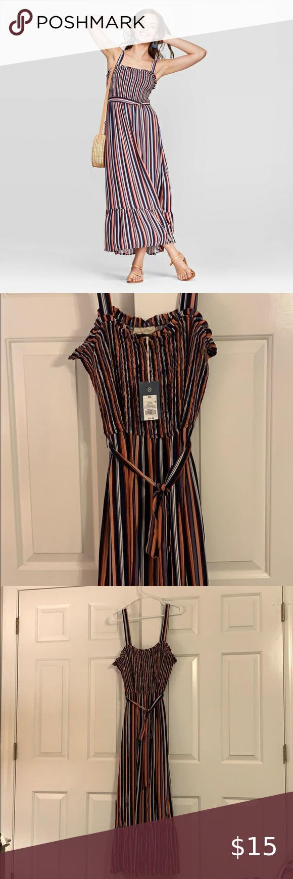 Universal Thread Smocked Midi Dress Midi Dress Striped Midi Dress Clothes Design [ 1740 x 580 Pixel ]