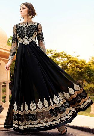 Gestickte Georgette und Net Abaya Style-Anzug in Schwarz | kleider ...