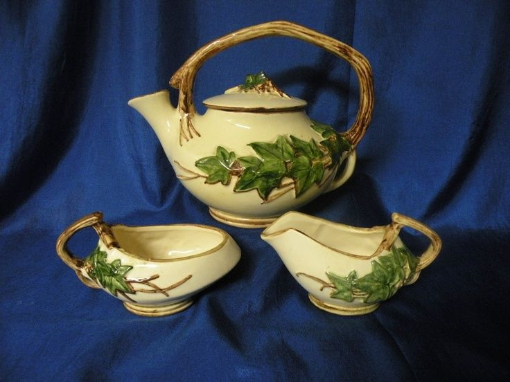 "McCoy Pottery ""Ivy"" Teapot Creamer Open Sugar 1950's Cream Green Brown"