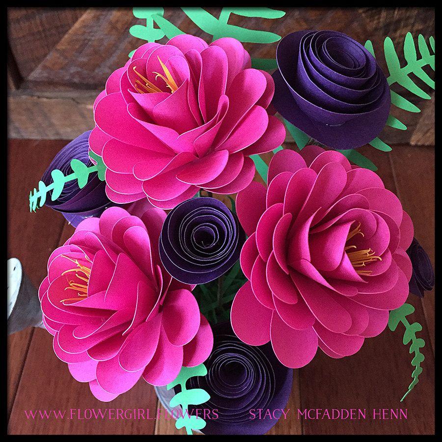 paper flower arrangement in tin watering can wedding