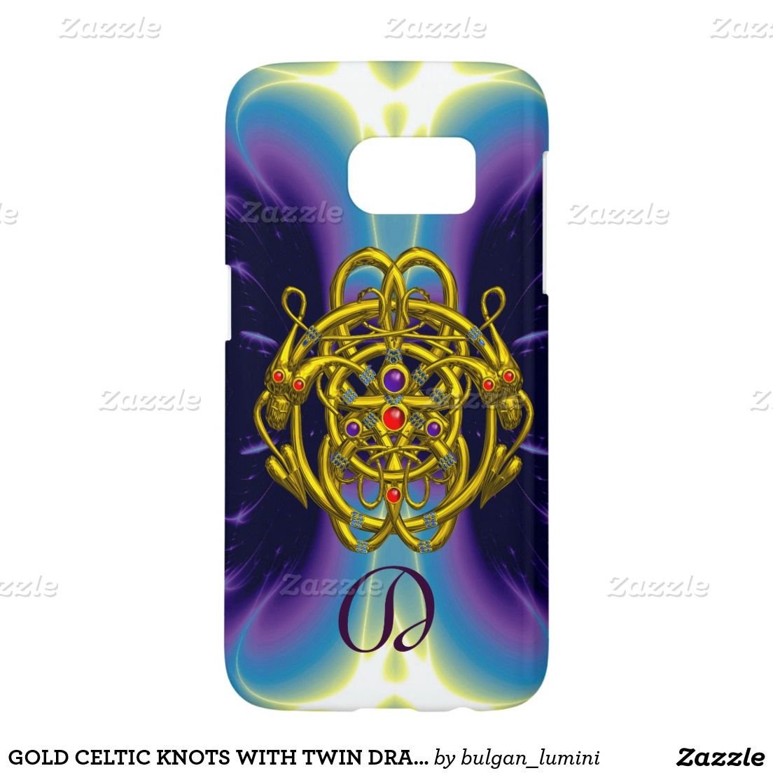 GOLD CELTIC KNOTS WITH TWIN DRAGONS MONOGRAM SAMSUNG GALAXY S7 CASE