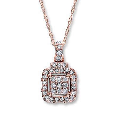 Diamond Necklace  1/3 ct tw Round-cut 10K Rose Gold