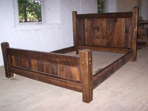 Custom Made Reclaimed Antique Oak Wood Queen Size Rustic Bed Frame